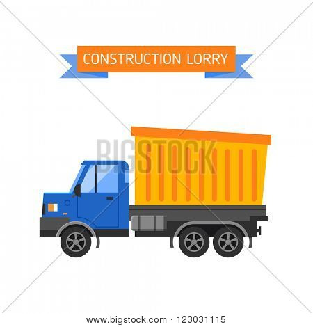 Delivery tipper truck transportation construction vehicle and road tipper truck machine equipment. Tipper dumper business truck transportation sand. Tipper yellow truck construction industry vector