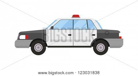 Police car emergency patrol auto and security police car light patrol cruiser. Street police car headlight safety law transport. Transportation surveillance. Police car sport modern style flat vector.