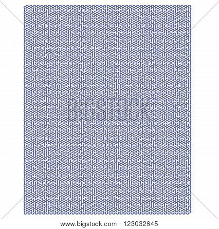 Blue Hexagonal Labyrinph Isolated on White Background. Impenetrable Blue Kids Maze