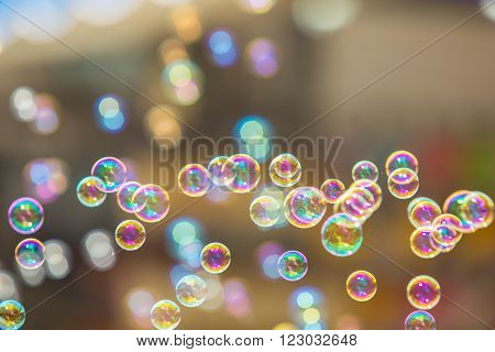 The rainbow soap bubbles from the bubble blower. ** Note: Soft Focus at 100%, best at smaller sizes