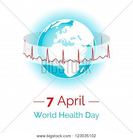 Vector illustration. Poster for 7 April World Health Day. The Earth in blue and white colors on a white background. Globe and normal cardiogram as a concept for World Health Day. Healthy planet.