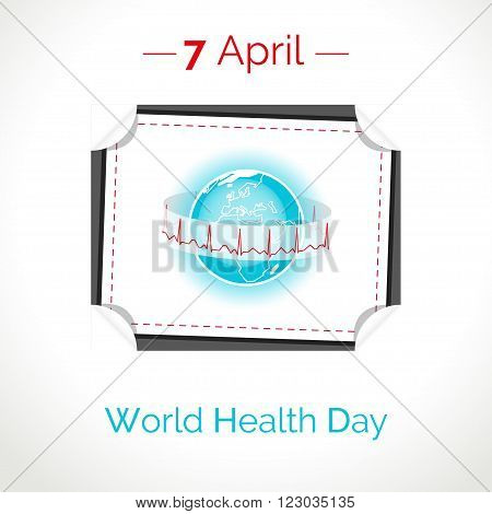 Vector poster for 7 April World Health Day. The Earth in blue and white colors on white background. Tear-off calendar with globe and normal cardiogram as concept for World Health Day. Healthy planet.