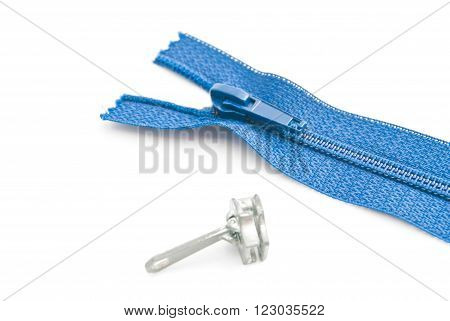 Blue Zipper On White