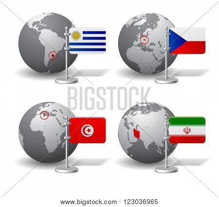 Gray Earth globes with designation of Uruguay, Czech Republic, Tunisia and Iran, with state flags. Vector illustration