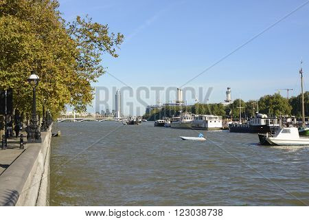 View up River Thames to Battersea from Chelsea Embankment