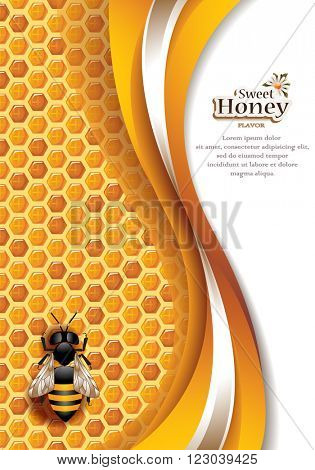 Vector Elegant Abstract Honey Background with Honeycomb, Working Bee and Space for Text
