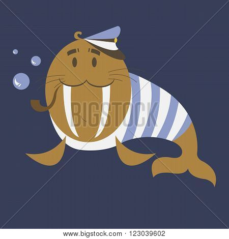 Funny captain walrus is ready to travel. Simple cartoon captain walrus blows bubbles through the tube