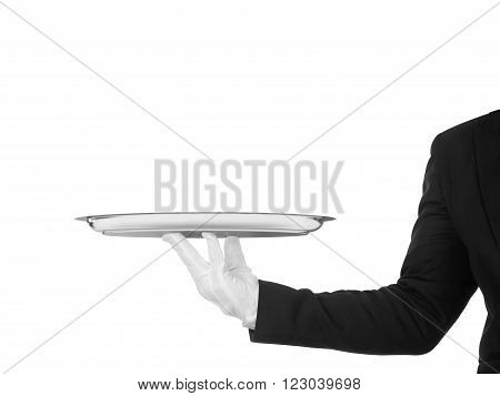 hand of the waiter in white glove with silver dish on white background with on an isolated white background