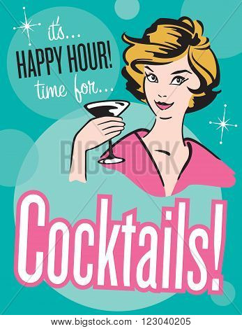 Retro style Cocktails poster or invitation.