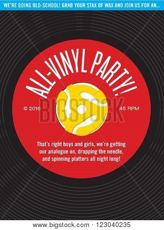 All-Vinyl Record Party Invitation.