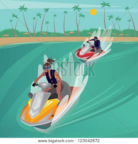 Man on red water scooter overtakes slim girl on yellow water scooter - Recreation or sport concept