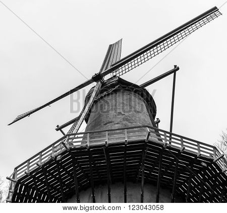 Dutch windmill in black and white. Industrial