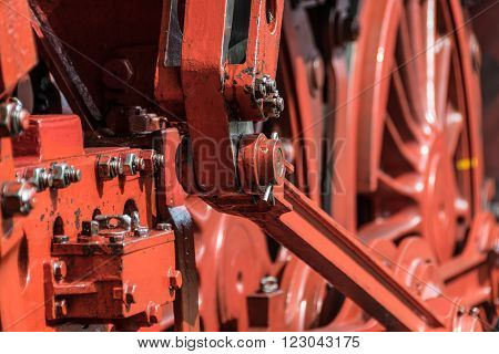 Gears and wheels of a steam engine
