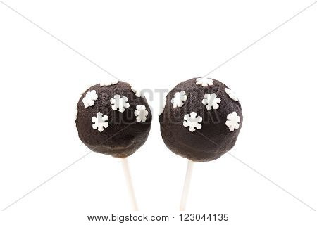 Cakepops with snowflakes decoration on isolated background