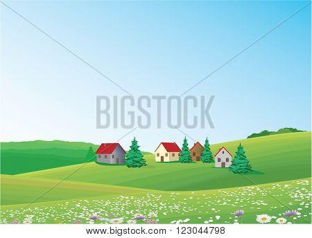 green Landscape - Village on the hills