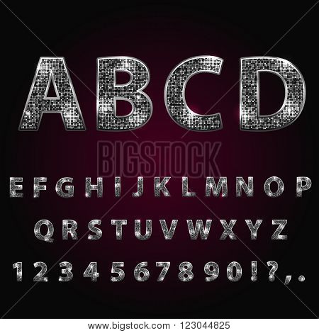 Silver metallic shiny alphabet. Sparkle glitter rhinestone alphabet letters numbers and signs currency