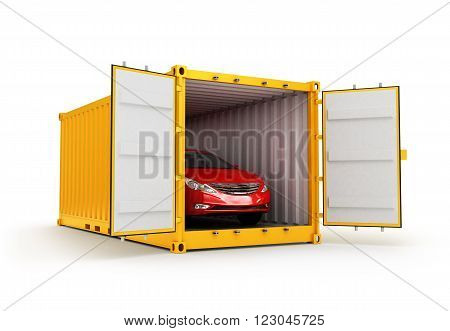 Freight transportation shipment and delivery concept red car inside yellow cargo container isolated on white background, 3D rendering