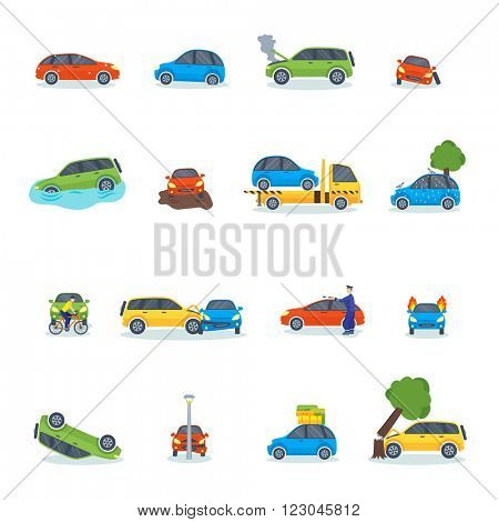 Car crash collision traffic insurance and car crash safety automobile emergency disaster. Car crash emergency disaster speed repair. Auto accident involving car crash city street vector illustration.