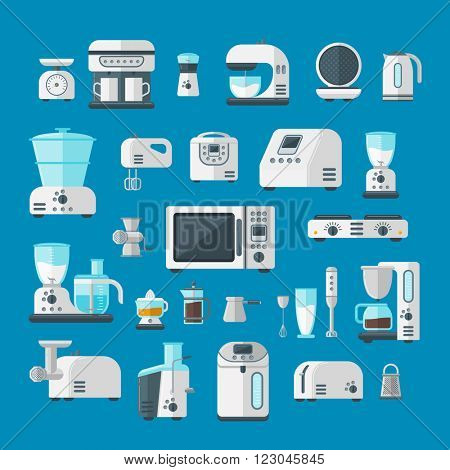 Home appliances design cooking applications and home appliances equipment kitchen. Home appliances household cooking set. Home electronics appliances elements infographics template concept vector.