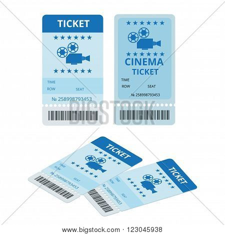 Modern cinema  tickets isolated on write background. Entertainment Tickets.  Icon for online booking of tickets. Modern element design cinema ticket poster