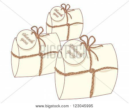 an illustration of three small decorative gift packages with a thank you tag known as wedding favors containing a piece of wedding cake on a white background