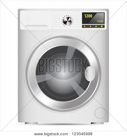 White Realistic vector washing machine at front view