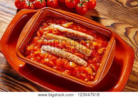 Tapas pisto con tomate ratatouille and sausage from Spain