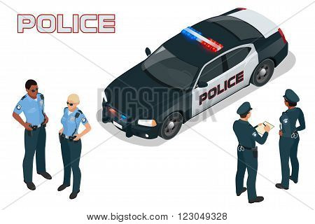 Police car - policeman - policewoman. Flat 3d isometric high quality city service transport. Isometric police car