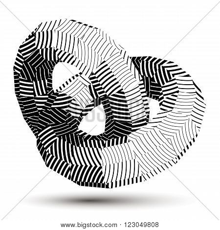 Vector Digital 3D Striped Abstraction, Geometric Polygonal Element. Spatial Technological Contrast S