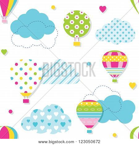 illustration of colorful hot air balloons collection with blue patterned clouds, hearts and dots on white background