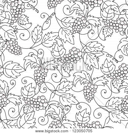 Hand drawn grapes seamless pattern background. Vector illustration.