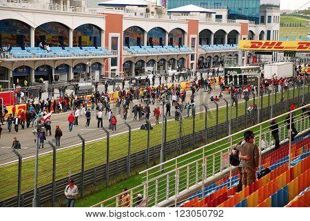 ISTANBUL/TURKEY-MAY 8 : Spectators at Istanbul Park Circuit of Formula-1 DHL Turkish Grand Prix. May 8, 2011-Istanbul-Turkey