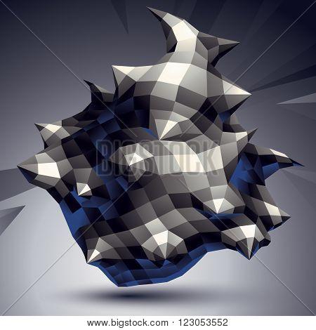 Vector Digital 3D Abstraction, Geometric Polygonal Element. Spatial Technological Contrast Shape Per