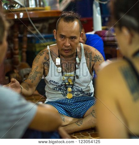 WAT BANG PHRA, THAILAND - MAR 18, 2016: Unidentified participant Wai Kroo (Luang Por Phern) Master Day Ceremony at Bang Pra monastery, about 50 km west of Bangkok.