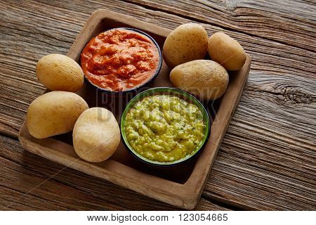 Papas arrugas al mojo Canary islands wrinkled potatoes with green and red sauces poster