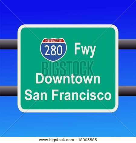 Interstate 280 to San Francisco sign illustration JPG poster