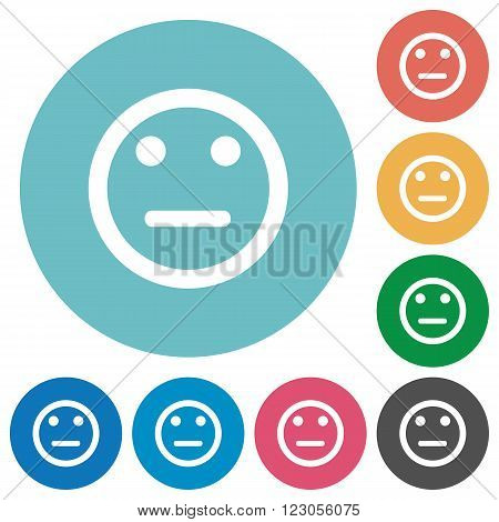 Flat neutral emoticon icon set on round color background.