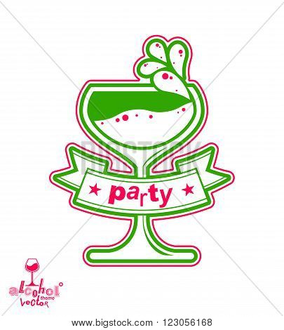 Vector Cocktail Glass With Splash, Alcohol Idea Graphic Illustration. Stylized Artistic Goblet, Roma