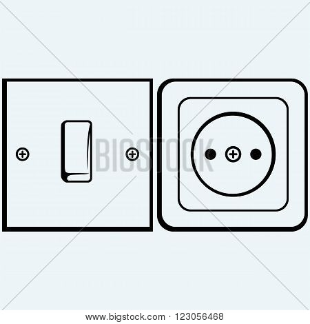 Single light switch and socket. Isolated on blue background. Vector