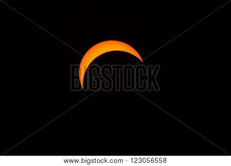 MALAYSIA - MARCH 9, 2016: A partial solar eclipse, visible throughout Malaysia and many parts of South East Asia, on 9 March 2016.