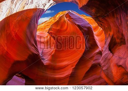 Antelope Canyon in the Navajo reservation. Arizona, USA. Incredible play of light and shade