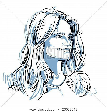 Vector portrait of attractive pensive woman illustration of good-looking romantic female. Person emotional face expression.