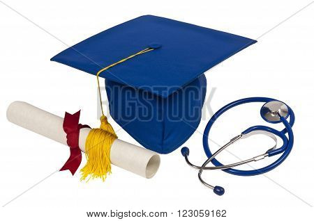 Blue graduation cap with diploma and stethoscope.  Isolated on white.