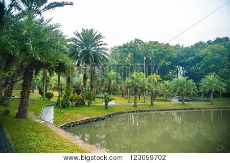 View on the beautiful landscaped park with pond