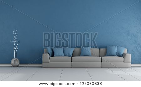 Blue and gray livingroom with elegant sofa - 3D Rendering