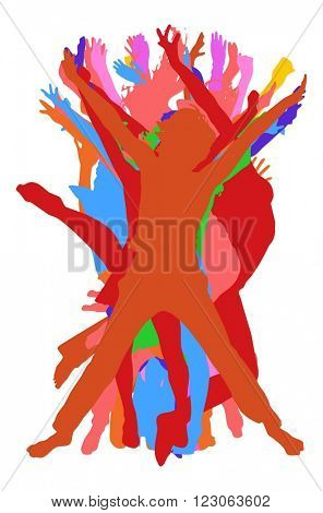 Together we Celebrate United Colleagues - colorful silhouettes of people jumping