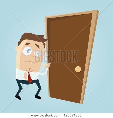 cartoon man is afraid of knocking on the door