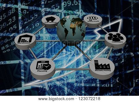 Supply Chain network with on color background