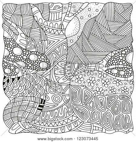 Artistically tree. Zentangle patterns. Sketch by trace. Hand-drawn ethnic floral doodle vector tribal design element. Black and white. Coloring book for adults and children. Zen art.