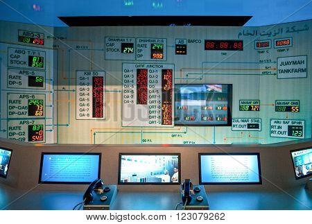 Dammam, Saudi Arabia - November 17, 2008:  A controll panel in the Aramco exibition centre-